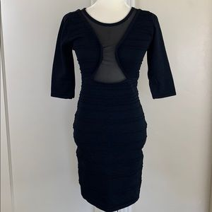 Wow Couture bodycon little black dress sheer panel